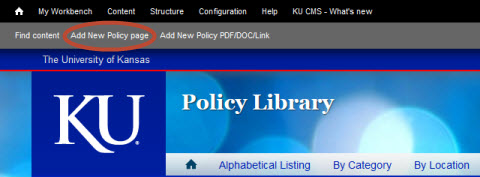 Add New Policy page