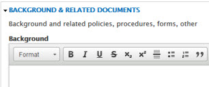 Fill in Background & Related Documents section