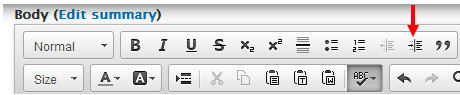 Image of the Increase Indent button in the content editor toolbar