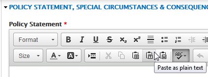 Image of the Paste as plain text button in the content editor toolbar