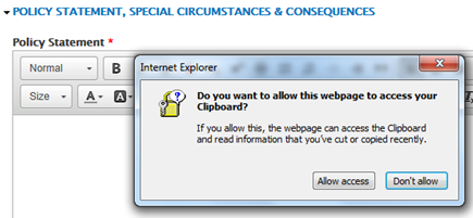 An image showing the dialog box that Internet Explorer displays when Paste from Word is clicked