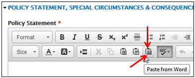 A graphic showing where Paste from Word is on the row of Content Editor buttons