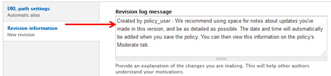 The Revision log message box for entering notes about updates to pages