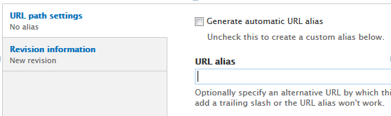 The URL path settings after auto alias has been unchecked and the cursor is in the text box